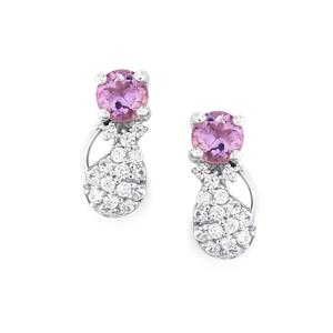 Rose du Maroc Amethyst & White Zircon Sterling Silver Earrings ATGW 1.52cts