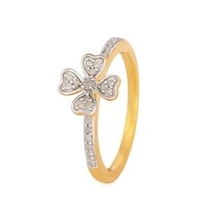 Diamond Ring in Gold Plated Sterling Silver 0.2ct