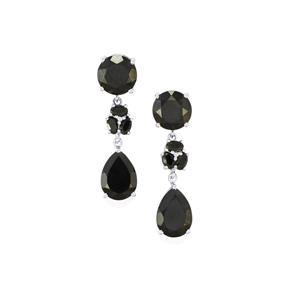 27.67ct Black Spinel Sterling Silver Earrings