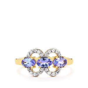 AA Tanzanite & White Zircon 10K Gold Ring ATGW 1.07cts