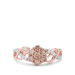3/4ct Champagne & White Diamond 9K Rose Gold Ring