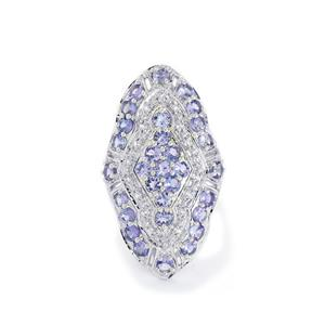 4.79ct Tanzanite & White Topaz Sterling Silver Ring