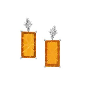 American Fire Opal Earrings with White Zircon in Sterling Silver 9.84cts
