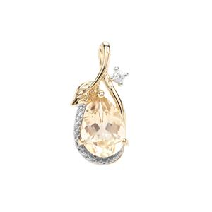 Cuprian Sunstone Pendant with White Zircon in 9k Gold 1.79cts
