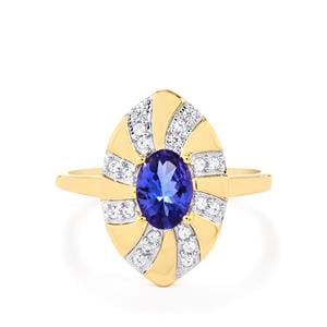 AA Tanzanite Ring with White Zircon in 10k Gold 0.95cts