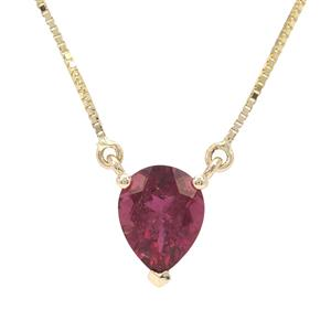 Nigerian Rubellite Necklace in 9K Gold 1.60cts