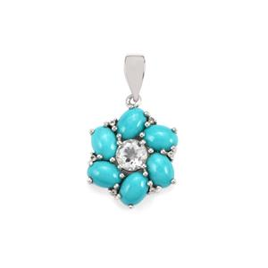 Sleeping Beauty Turquoise Pendant with White Topaz in Sterling Silver 5.41cts