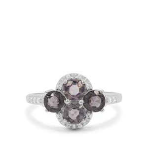 Mogok Silver Spinel & White Zircon Sterling Silver Ring ATGW 2.05cts