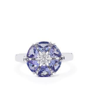 Tanzanite Ring with White Topaz in Sterling Silver 1.80cts