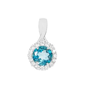 London Blue Topaz Pendant with White Zircon in Sterling Silver 3.16cts