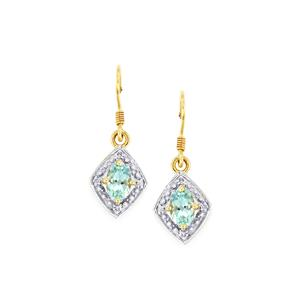 Mozambique Aquamarine Earrings with Diamond in 10k Gold 0.96cts