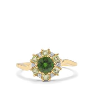 Chrome Diopside, Peridot & White Zircon 9K Gold Ring ATGW 1.16cts