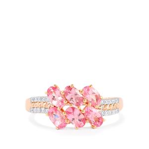 Mozambique Pink Spinel Ring with Diamond in 14K Rose Gold 1.59cts