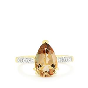 Oregon Sunstone & Diamond 18k Gold Tomas Rae Ring MTGW 2.37cts