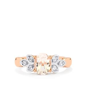 Zambezia Morganite Ring with White Topaz in Rose Gold Plated Sterling Silver 1.33cts