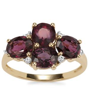 Burmese Spinel Ring with White Zircon in 9K Gold 4.65cts