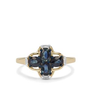 Australian Blue Sapphire Ring with White Zircon in 9K Gold 1.34cts