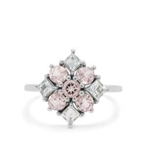 Cherry Blossom™ Morganite Ring with Aquaiba™ Beryl in 9K White Gold 1.40cts