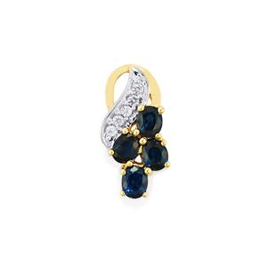 Australian Blue Sapphire Pendant with Ceylon White Sapphire in 10K Gold 1.43cts