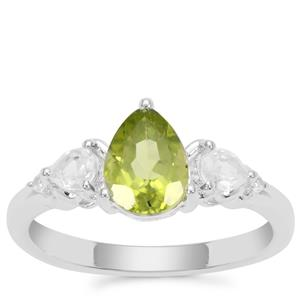 Red Dragon Peridot Ring with White Zircon in Sterling Silver 1.66cts