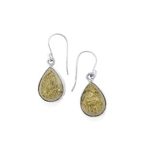 Drusy Pyrite Earrings in Sterling Silver 28cts
