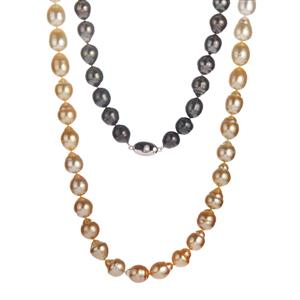 Tahitian, South Sea & Golden South Sea Pearl Sterling Silver Necklace (10x9mm)