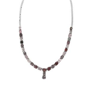 Burmese Multi-Color Spinel Necklace in Sterling Silver 30.36cts