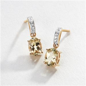 Csarite® Earrings with White Zircon in 9K Gold 1.78cts