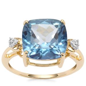 Santa Maria Topaz Ring with Diamond in 10K Gold 6.90cts