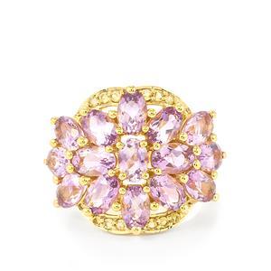 Rose du Maroc Amethyst & Diamantina Citrine Gold Vermeil Ring ATGW 6.34cts