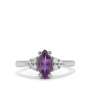 Kenyan Amethyst & White Topaz Sterling Silver Ring ATGW 1.16cts