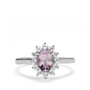 Rose du Maroc Amethyst Ring with White Topaz in Sterling Silver 1.22cts
