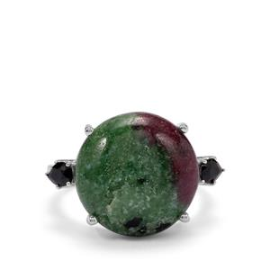 Ruby-Zoisite Ring with Black Spinel in Sterling Silver 12.73cts