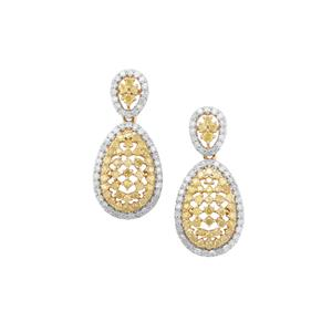 Yellow Diamond Earrings with White Diamond in 9K Gold 2.14cts