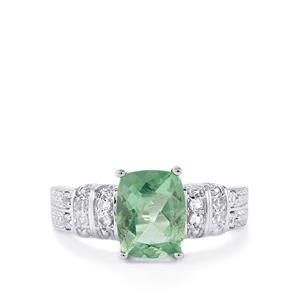 Tucson Green Fluorite & White Topaz Sterling Silver Ring ATGW 2.55cts