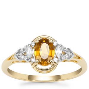 Cognac Zircon Ring with White Zircon in 9K Gold 1.03cts