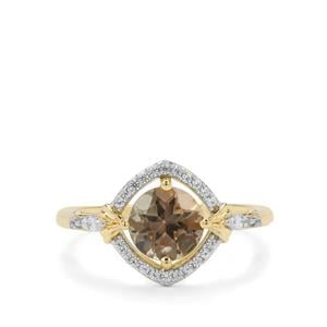 Peacock Parti Oregon Sunstone Ring with White Zircon in 9K Gold 1.52cts