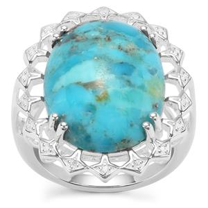 Bonita Blue Turquoise Ring with White Zircon in Sterling Silver 11.23cts