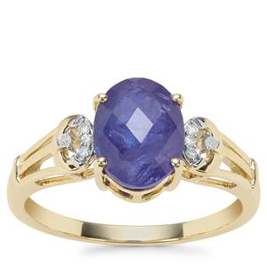 AAA  'Estate' Tanzanite Ring with Diamond in 9K Gold 2.51cts