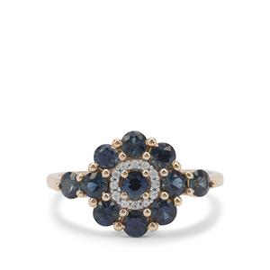 Australian Blue Sapphire Ring with White Zircon in 9K Gold 1.45cts