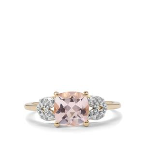 Alto Ligonha Morganite Ring with Diamond in 9K Gold 1.31cts