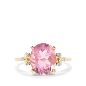 Natural Pink Fluorite Ring with Diamond in 10K Gold 4.49cts