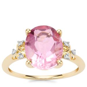 Natural Pink Fluorite Ring with Diamond in 9K Gold 4.49cts