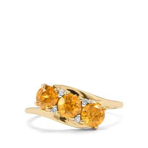 Morafeno Sphene Ring with Diamond in 9K Gold 1.26cts