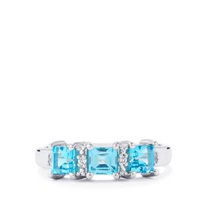 1.24ct Electric Blue & White Topaz Sterling Silver Ring