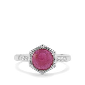 Rose Cut Malagasy Ruby & White Zircon Sterling Silver Ring ATGW 2.17cts (F)