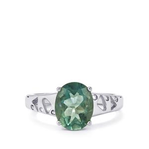 Tucson Green Fluorite Ring with White Topaz in Sterling Silver 3.15cts