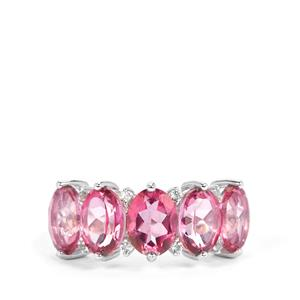 7.36ct Pink & White Topaz Sterling Silver Ring