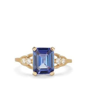 AAA Tanzanite Ring with White Zircon in 9K Gold 2.60cts