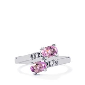 Rose du Maroc Amethyst & White Topaz Sterling Silver Ring ATGW 0.88ct
